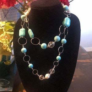 Polished Stone & Silver Long Necklace